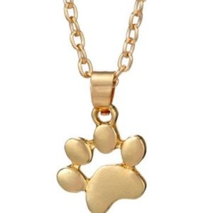 Gold Dainty Small Paw Print Necklace Dog Cat
